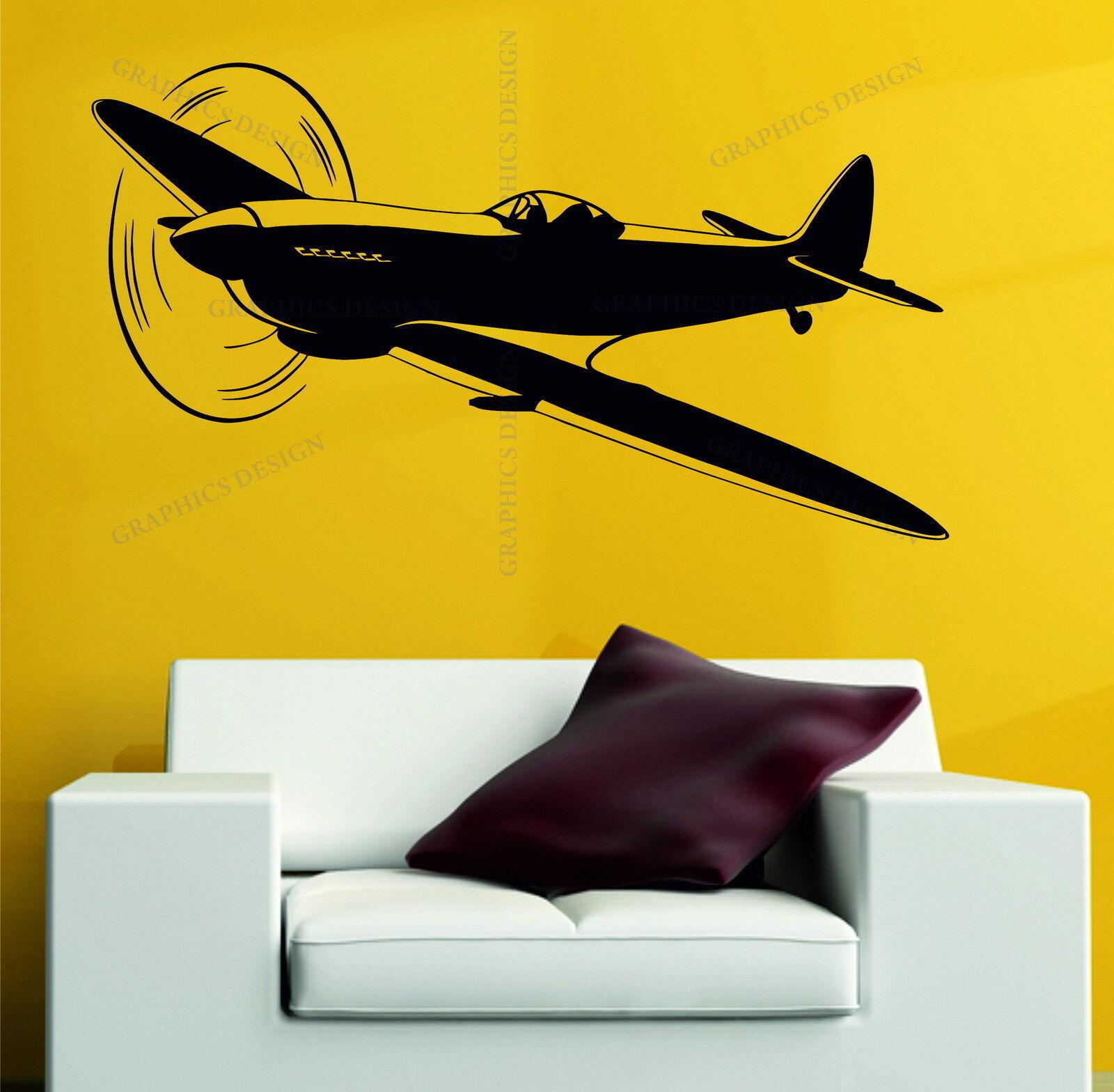 Spitfire Plane Army WW2 RAF Airplane Decor Vinyl Wall Sticker Decal ...