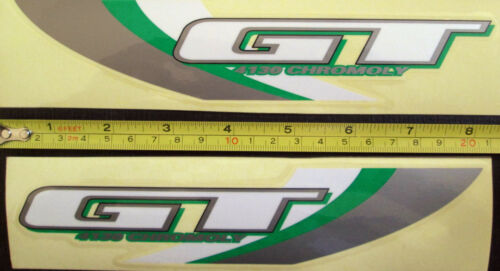 GT 4130 CHROMOLY Frame Decal Stickers//Glitter Green//Gray//White//Chrome