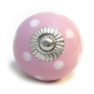 Details About Pink With White Spots Polka Dot Ceramic Cupboard Drawer Pulls  Cabinet Door Knob