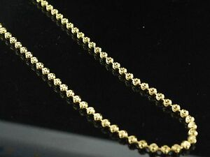 .925 Sterling Silver 14k Yellow Gold Finish Beaded Moon Cut Chain 3mm Necklace