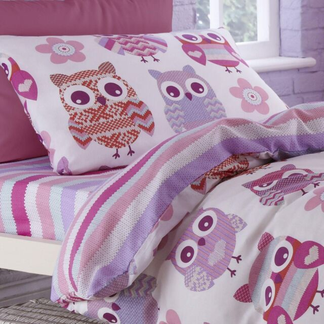 Catherine Lansfield Bedding Pink & Purple Owls Single Duvet Quilt Cover Bed Set