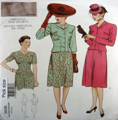 Vogue Sewing Pattern 2636 Ladies 610 Vintage Model 40s War Dress Jacket