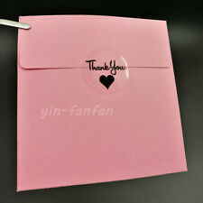 "100pcs 1.18"" Round Transparent Thank you Black Heart Sealing Sticker 30*30mm"