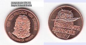 Eule-Owl-Friedrich-von-Schiller-Dichter-Marbach-am-Neckar-Weimar-Cu-Medaille