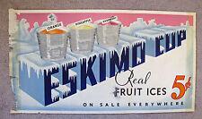 ESKIMO CUP (Pie) Advertising Sign  5 Cents  * ca. 1929-1932 * RARE  Ice Cream