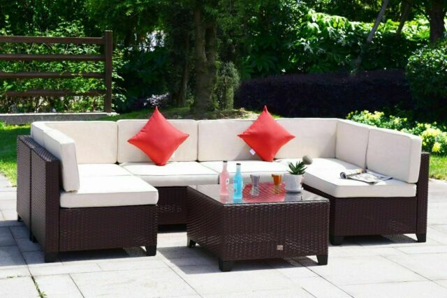 Outsunny 7 Piece Rattan Outdoor, Outsunny Outdoor Furniture