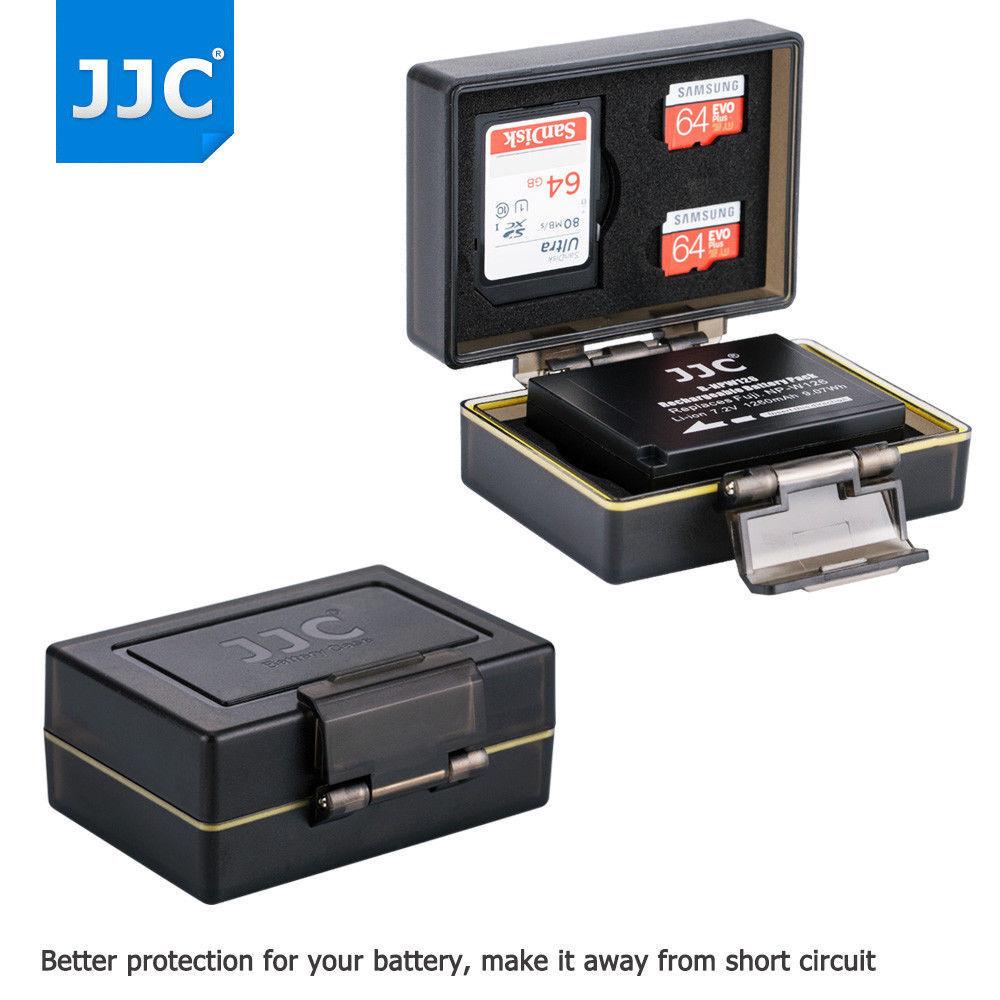 JJC Camera Battery+1 SD & 2 Micro SD Card Case for Fujifilm NP-W126 NP-W126S
