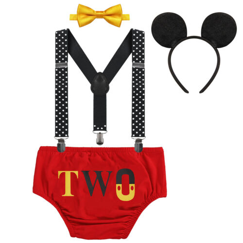 Boys Mickey Mouse Costume Set for Baby Kids Birthday Two Year Outfit Cake Smash