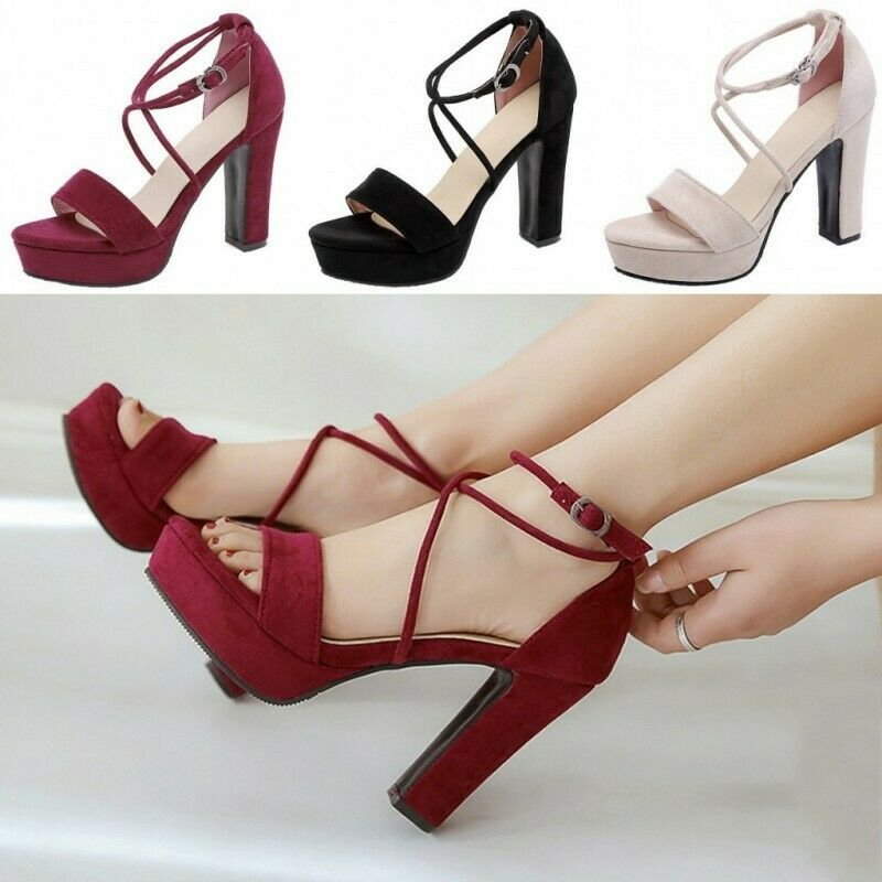 Womens Cross Strap High Heel Faux Suede Wedding Dress Sandals shoes Open Toe Hot