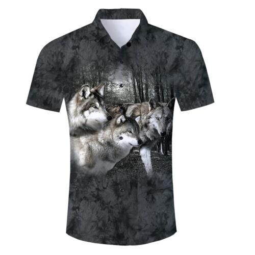 Mens Hawaiian 3D Print Button Down Casual Shirt Summer Short Sleeve Aloha TShirt