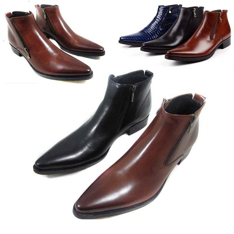 Decoración de cremallera británica para hombre en punta Vestido Formal De Cuero Zapatos botas al Tobillo 2019