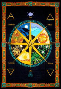 Pagan Wheel Of The Year Tapestry Banner Wall Calendar Flag