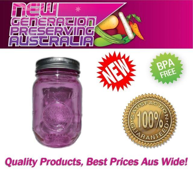 12 x PINK Aussie mason Regular Mouth Pint  Preserving bottles & Lids, Ball
