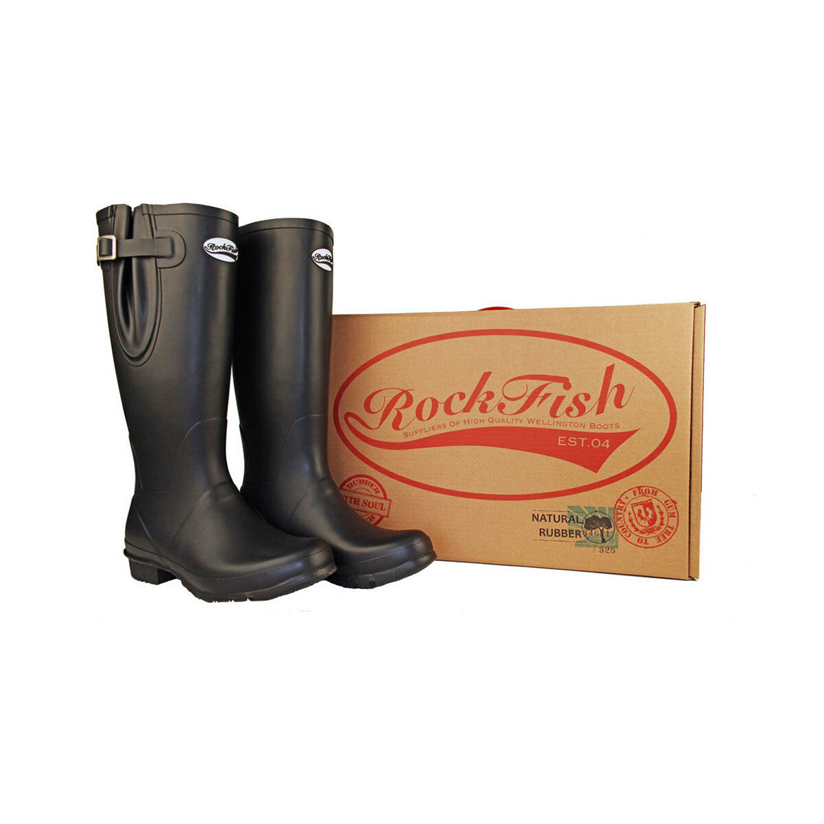 ROCKFISH herren CLASSIC ADJUSTABLE CALF TALL MATT WELLINGTON WELLIES DURABLE