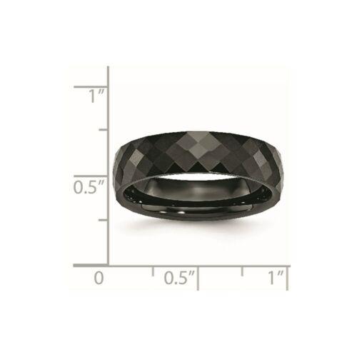 Details about  /Ceramic Black 6mm Faceted Polished Band S:11.5