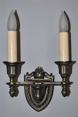 Vintage Double Socket Wall in Pewter Tone Finish with Shield Shape Back Plate
