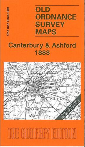 OLD ORDNANCE SURVEY MAP CANTERBURY ASHFORD 1888 SIBERTSWOLD ADISHAM BRIDGE