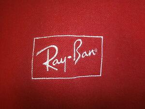 96360a323ef RAY BAN SUNGLASSES POLO SHIRT Retro Red Sewn Classic Logo Aviator ...