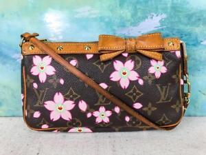 710-LOUIS-VUITTON-Cherry-Blossoms-Brown-LV-Monogram-Canvas-Pochette-Bag-SALE