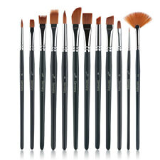 12pcs//Set Artist Paint Brush Nylon Hair Watercolor Acrylic Painting Oil ~ U6D9