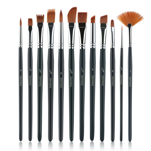 12pcs Oil Painting Brush Set Durable Acrylic Watercolor Paintbrush for Artist