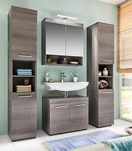 Badmöbel Badezimmer komplett Set Sardegna Rauchsilber grau 2x ...