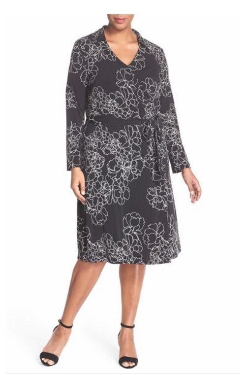 Vince Camuto 'Floral Contour' Print Jersey Wrap Dress (Plus Größe) (Größe 2X)
