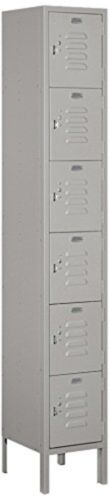 "Gray Six Tier Box Style 1 Wide Standard Metal Locker 12/"" Deep 6/' High"