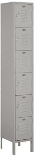 "Gray Six Tier Box Style 1 Wide Standard Metal Locker 12/"" Deep 6/' High"