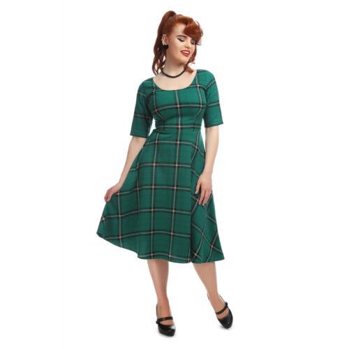 Sz Vintage 8 '50 Dress Amber Green Swing Collectif Evergreen anni 22 Check 0pqAOFww
