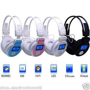 CUFFIE MP3 STEREO DISPLAY LCD SD RADIO FM TF CARD CUFFIE CON SD HIFI STEREO