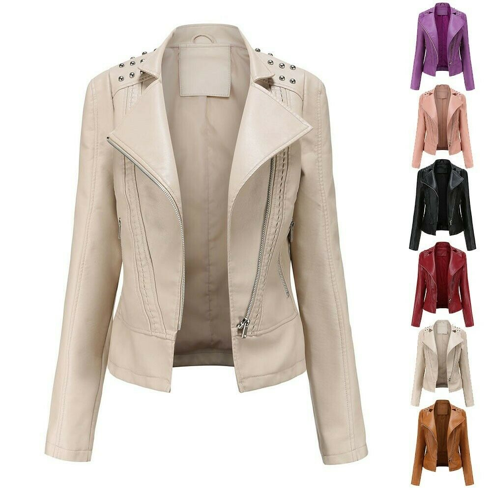 PU Leather Top Spring Suit Women Autumn Jacket M-2XL Brand New Durable