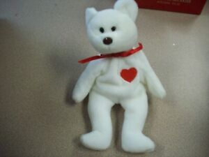 155dda6af4b TY Beanie Baby Valentino Bear - White with Red Heart   Brown Nose ...