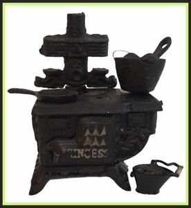 Vintage Cast Iron Stove Salesman Sample/Child's Toy - Marked PRINCESS - As Is