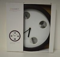 Nw Wall Clock Contemporary Inhabit Large 12.5 Face Round Photo Brown Home Dorm