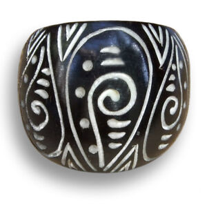 Edler-Ring-Handarbeit-Goa-Horn-Bone-Knochen-Natur-Schmuck-AR088