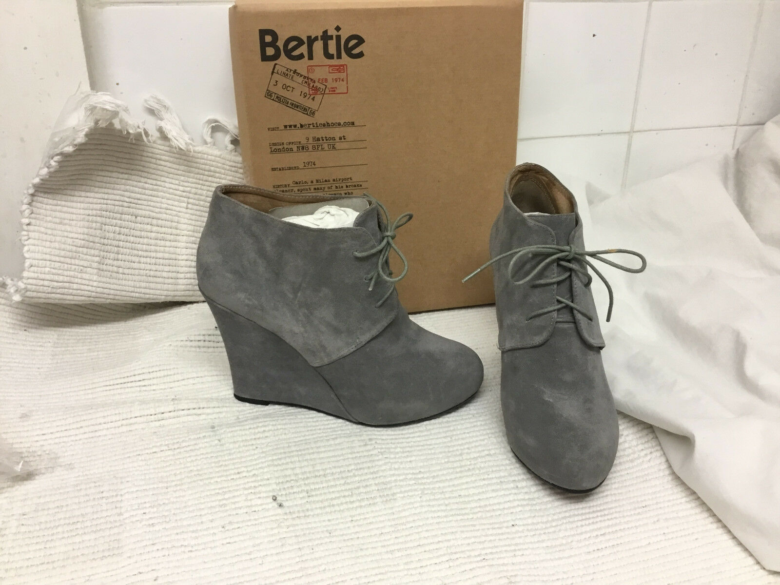 Bertie Saturday Grey Covered Wedge Boot