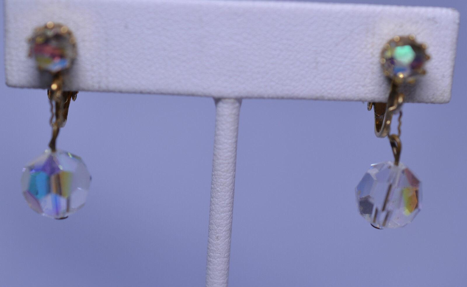 VINTAGE GLASS CRYSTAL AURORA BOREALIS AB DANGLE CLIP EARRINGS