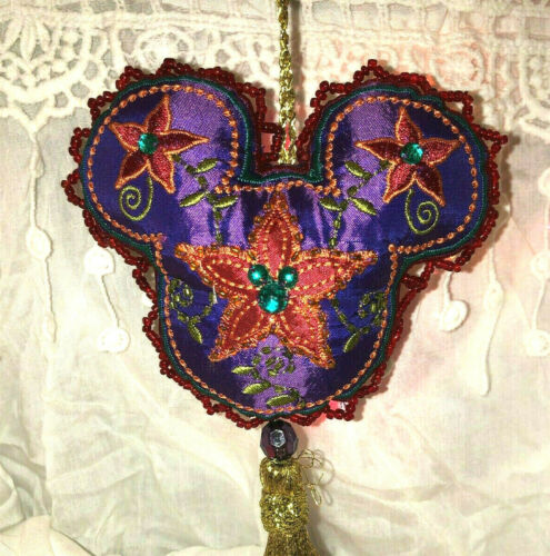 Disney Parks Mickey Mouse Head Ear Ornament Bohemian Beaded Purple Satin