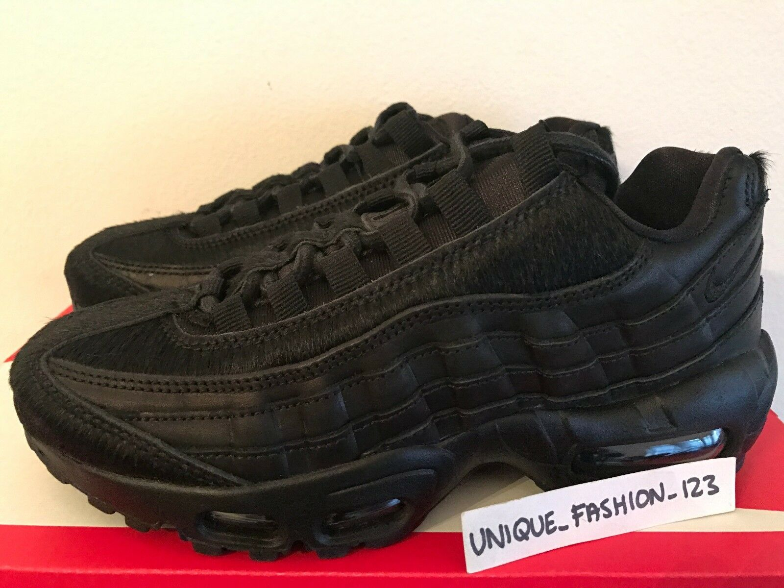 WMNS NIKE AIR MAX 95 PRM US 6.5 37.5 TRIPLE BLACK PONY HAIR PACK 807443-004 The latest discount shoes for men and women