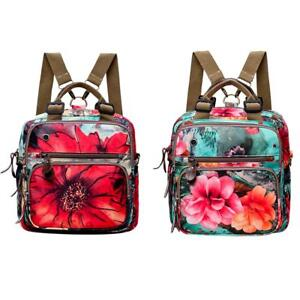 Women-Girls-Backpack-Flowers-Print-Shoulder-Bag-Schoolbags-Satchel-Handbag-purse