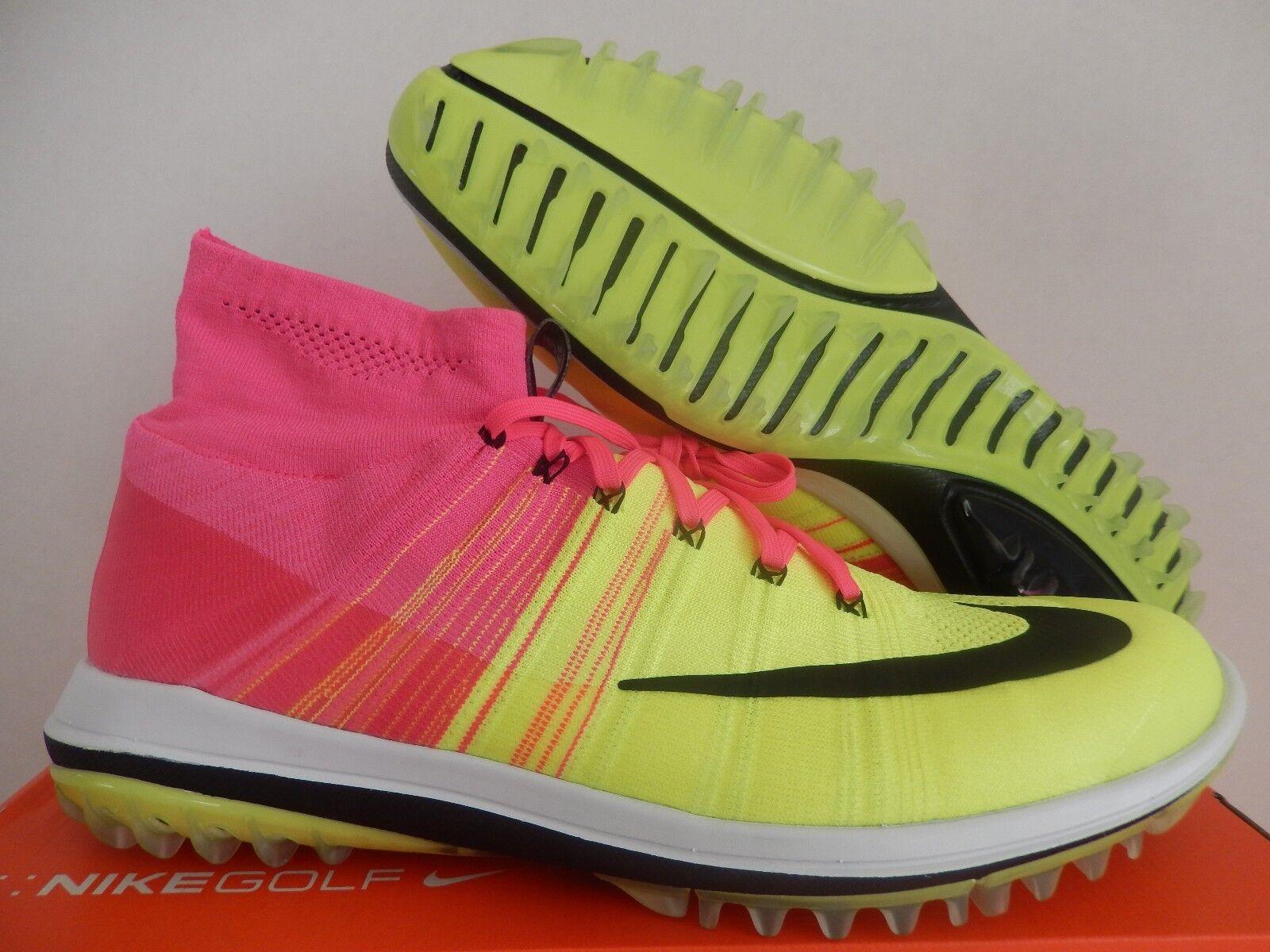 a0839db516ca Nike Flyknit Elite Golf Shoes Pink Blast Volt White Black Sz ...