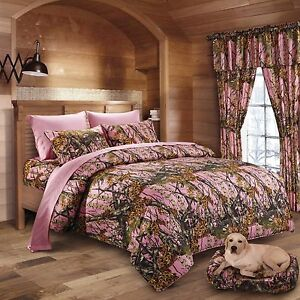 17 PC SET REGAL COMFORT PINK CAMO COMFORTER SHEET FULL SIZE CAMOUFLAGE CURTAINS