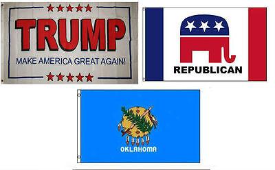 3x5 Trump White #2 /& Republican /& State North Carolina Wholesale Set Flag 3/'x5/'