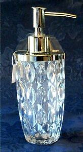 Envogue-Soap-Lotion-Pump-Dispenser-Clear-Leaf-Diamond-Cut-Crystal-Silver-Trim