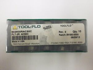 10pc) ToolFlo FLT 2R AC50 Top Notch Coated Carbide Inserts 60° V Threading NT 2R