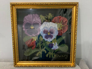 Vintage-Antique-Signed-BAS-Needlepoint-w-Flowers-amp-Butterfly-Marked-Pansy