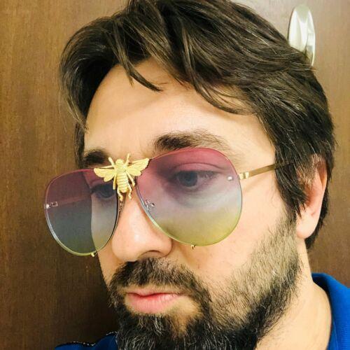 Gafas Sol Lentes Moda Disenador Cuadrado Dorado Moth abeja polilla Sunglasses