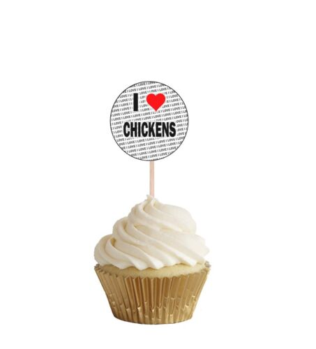 I Love Chickens Party Food Cup Cake Picks Sticks Flags Decorations Toppers