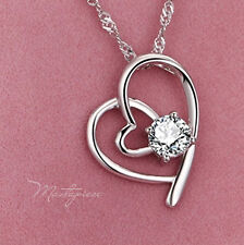 Silver heart w white crystal Rhinestones pendant necklace - SH8